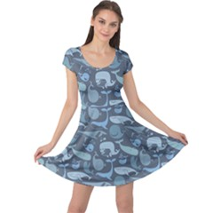 Blue Cute Doodle Blue Whales Marine Seamless Cap Sleeve Dress by CoolDesigns