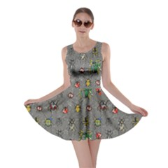 Gray Pattern With Watercolor Beetles Skater Dress  by CoolDesigns