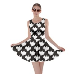 Black Night Flying Ghost Halloween Pattern On Black Skater Dress