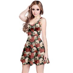 Brown Skull And Flowers Day Of The Dead Vintage Sleeveless Skater Dress by CoolDesigns