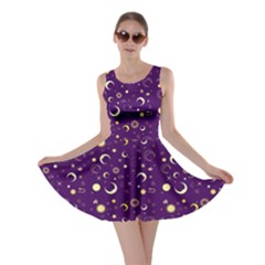 Purple Fun Night Sky The Moon And Stars Skater Dress by CoolDesigns