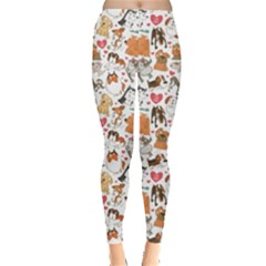Colorful Pattern For Dog Lovers With Dogs And Hearts Women s Leggings