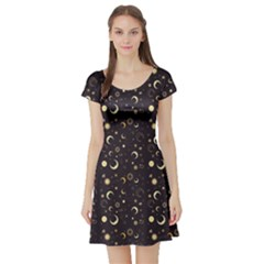 Black A Fun Night Sky The Moon And Stars Short Sleeve Skater Dress by CoolDesigns