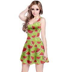 Red Watercolor Pattern Watermelon Reversible Sleeveless Dress by CoolDesigns
