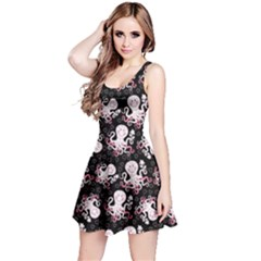Black Octopus Short Sleeve Skater Dress