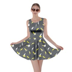 Gray Space With Cats Saturn And Stars Skater Dress