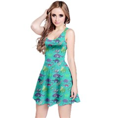 Aqua Dinosaur Stylish Pattern Skater Dress by CoolDesigns
