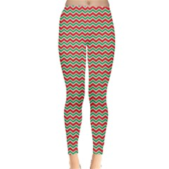 Red Repeating Chevron Zig Zag In Christmas Holiday Colors Leggings by CoolDesigns