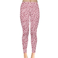 Pink Cute Pink Valentine Day Pattern Cute Hearts Leggings by CoolDesigns