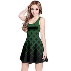 Dark Green Gradient With Black Rhombuses Sleeveless Skater Dress by CoolDesigns
