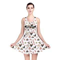 Colorful Pattern With Japanese Food Reversible Skater Dress