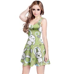 Green Pattern With Doodle Kawaii Short Sleeve Skater Dress