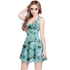 Mint Vintage Roses Pattern Sleeveless Skater Dress