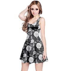 Black N White Vintage Roses Pattern Sleeveless Skater Dress