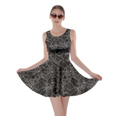 Black Halloween Spider Web Pattern Skater Dress by CoolDesigns