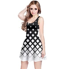 Black & White Gradient With Black Rhombuses Sleeveless Skater Dress by CoolDesigns