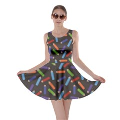Colorful Pattern Of Colored Pencils Scattered Skater Dress