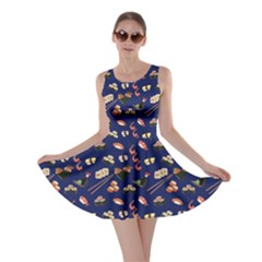 Navy Japanese Food Sushi Pattern Skater Dress  by CoolDesigns