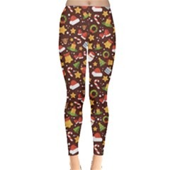 Colorful With Christmas Elements In A Flat Style Leggings by CoolDesigns