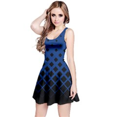 Blue & Black Gradient With Black Rhombuses Sleeveless Skater Dress by CoolDesigns
