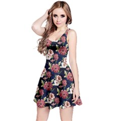 Navy3 Floral Sleeveless Skater Dress