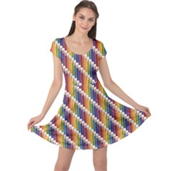 Colorful Colored Rainbow Pencils Pattern Cap Sleeve Dress by CoolDesigns