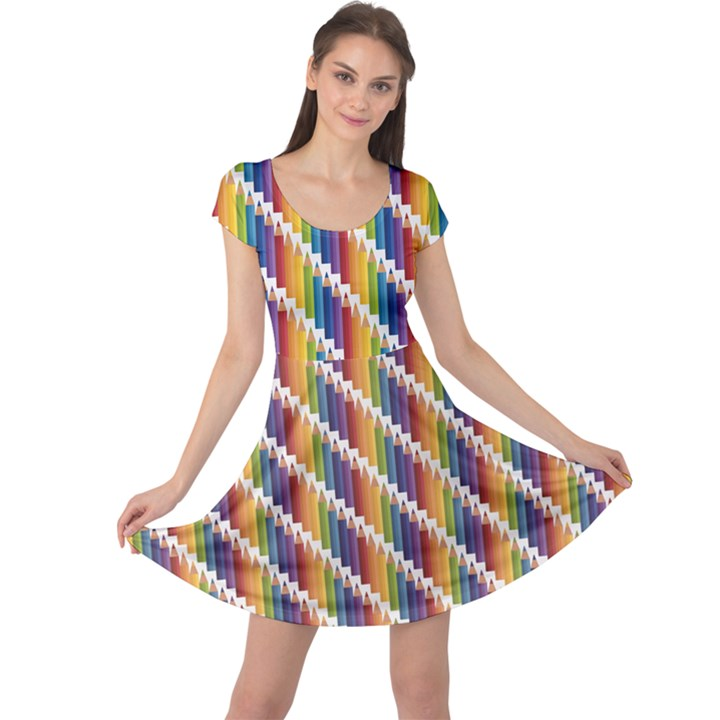 Colorful Colored Rainbow Pencils Pattern Cap Sleeve Dress