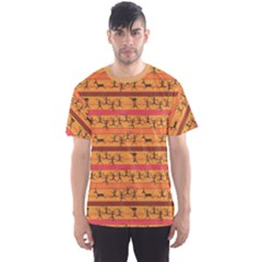 Orange Comic Pattern Of Hunting African Aborigines Men s Sport Mesh Tee by CoolDesigns