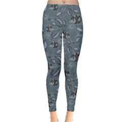 Blue Hedgehogs In The Night Forest Pattern Women s Leggings