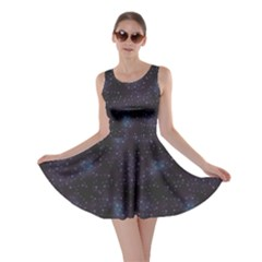 Blue Pattern Constellations Of Hearts On Night Skater Dress