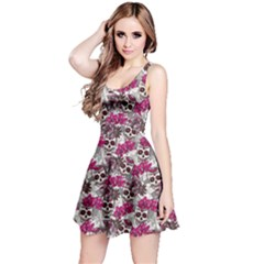 Pink Gray Skull With Flowers Reversible Sleeveless Dress