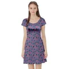 Blue Set Of Silhouettes Dinosaur Animal Retro Pattern Short Sleeve Skater Dress