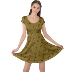 Brown Pattern Of The Bee On Honeycombs Cap Sleeve Dress