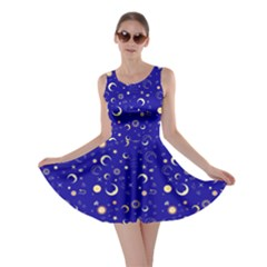 Royal Blue Fun Night Sky The Moon And Stars Skater Dress by CoolDesigns