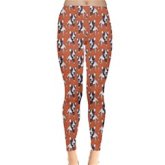 Red Cartoon Bull Terrier Pattern Leggings