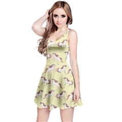 Cowcow Womens Light Yellow Unicorn Seamless Sleeveless Skater Dress