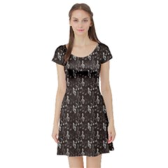 Black Pattern With Music Notes Treble Clef Short Sleeve Skater Dress