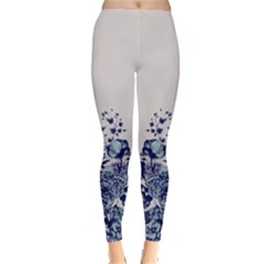 Gray Blue Floral Leggings  by CoolDesigns