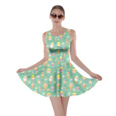 Mint Yummy Ice Cream Pattern Skater Dress by CoolDesigns