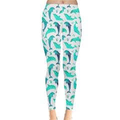 Mint Watercolor Dolphins Pattern Leggings by CoolDesigns