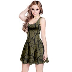 Olive Ravens Pattern Reversible Sleeveless Dress