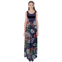 Navy2 Floral Empire Waist Maxi Dress by CoolDesigns