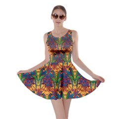 Colorful Pattern With Macaw Parrots Hand Drawn Skater Dress
