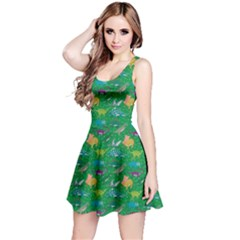 Green Dinosaur Stylish Pattern Skater Dress by CoolDesigns