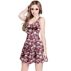 Wine Grunge Skulls Pattern Sleeveless Skater Dress by CoolDesigns