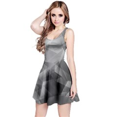 Gray Iridescent Pattern Sleeveless Skater Dress