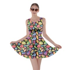 Colorful Colorful Watercolor Gem Pattern Skater Dress by CoolDesigns