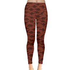 Dark A Pattern With Dinosaur Silhouettes Leggings