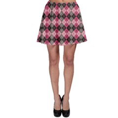 Colorful Argyle Pattern In Pink And Black Skater Skirt by CoolDesigns