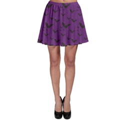 Purple With Halloween Bats And Stars Skater Skirt